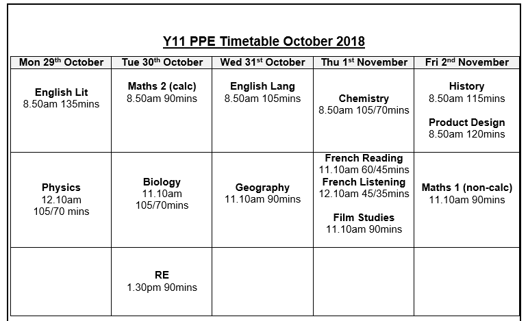 October PPE Timetable 2018