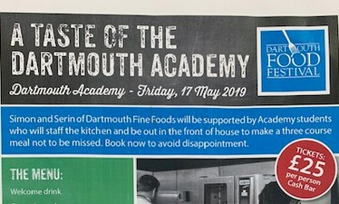 A Taste of the Dartmouth Academy - Fri 17th May 2019, 6.30pm - The View Restaurant, Dartmouth Academy