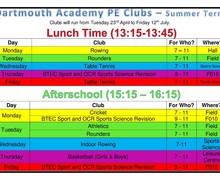 Summer Term Clubs 2019